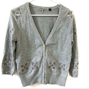 Anthro Knitted & Knotted Medium Gray Cardigan